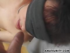 Blindfolded non-professional GF double penetration with toys and facial