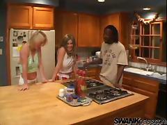 Daphne Rosen and her blond GF enjoy interracial foursome sex