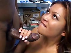 Smutty pornstar moaning as she gets fucked doggystyle with big black cock before awarding it superb handjob