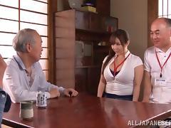 Old men get hard to gangbang a huge boobs Japanese slut
