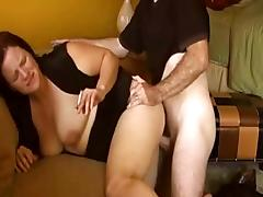 Brunette milf gets fucked doggystyle and in the cowgirl pose
