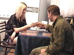She serves this Army guy some coffee then gives him the pussy