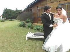 Newlywed couple outdoor