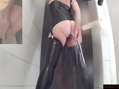 Enema  Ass Cleaning Latex Shower Teaser Little Sunshine MILF