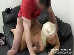 Busty blonde mom in casting session blows and gets drilled