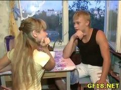 Fellow sells his sweet looking teen