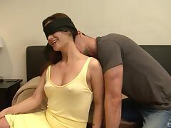 Blindfolded brunette hottie smiles during the hardcore pussy pounding