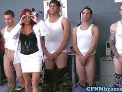 Dominating army babes cockriding in uniform