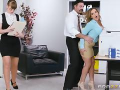 busty intern cums on colleague's desk