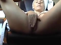 Masturbates at her desk