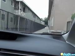 Redhead Emo car driving horny