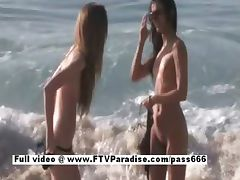 Faye and Larysa funny lesbians flashing on the beach