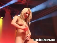 Blond striper showing off her skills