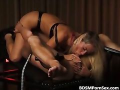 Sexy blonde ties a guy and sucks part1