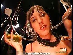 Dirty brunette slut gets pissed hard part2