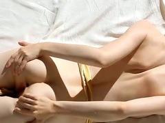 Chick bounds on big dildo