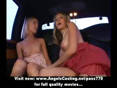 Wonderful superb lovely blonde lesbian couple undressing