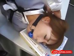 Office Lady Bondaged Laying On The Desk Getting Her Mouth Fucked By Guys In The Office