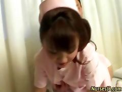 Nurse asian hottie gets wet