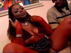 Ebony girl fucking with two guys