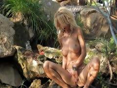 outdoor blonde with huge breasts