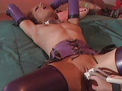 Hot lesbians have fun with latex