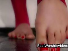 Two babes in foot fetish action with gangbang fucking