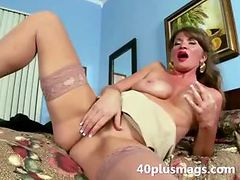 Nasty housewife fingering hairy snatch