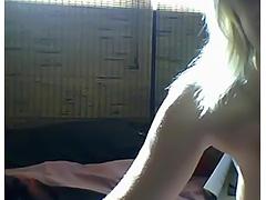 cute blonde teen showing off naked on webcam