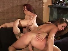 Brunette and redhead in a hot threesome