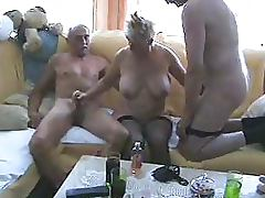 Blonde Granny In Stockings Has a Threesome With Two Bisexual