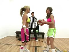 Briana Blair's Big Natural Tits Get Covered With The Ref's