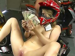 Young slut paid to fuck in bike shop
