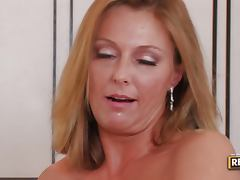 Busty Blonde MILF Brenda James Gets A Mouthfull At The Office