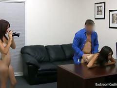 Two girl bestfriends in casting hardcore sex
