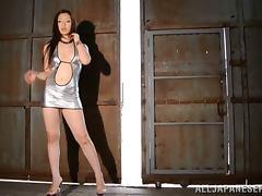Tall Japanese in High Heels Erika Takashita Handjobs a Small Asian Dude