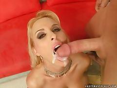Holly Halston sucks and rides a hard cock and gets a facial cumshot
