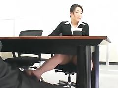 Japanese secretary gets naughty with her boss in an office