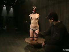 Amazing babe with gas mask gets punished in BDSM action