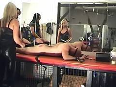 2 mistresses castigate a thrall