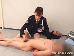 Police woman forcing her prisoner to lick her wet cunt