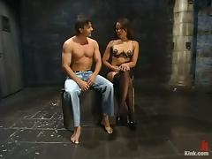 Annie Cruz Blowjobs Guy After Ass Fucking Him with Strapon in BDSM