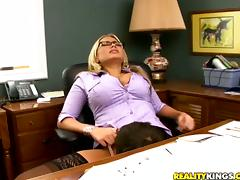 Passionate Alanah Rae has hot sex in an office
