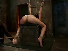 Ravishing brunette loves being tortured hard and deep