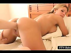 Naked blonde lesbo hottie gets cunt fisted in bed