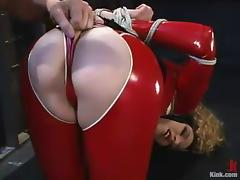 Frizzled Ramona rides big hard cock prevalent BDSM pellicle