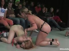 Nasty chicks wrestle in a ring and have wild lesbian orgy