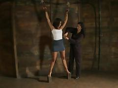 Bound Skin Diamond gets her titties tortured with pumps