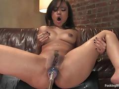 Annie Cruz gets her juicy ass fucked hard by a sex machine