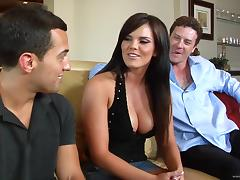Curvy brunette Mackenzee Pierce moans sweetly during ardent DP